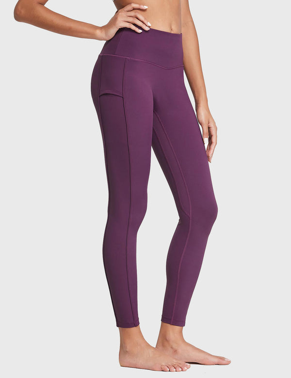 "Baleaf Womens 28"" High Rise Ergo Lined Pocketed Workout Leggings Dark Magenta Side"