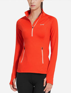 Baleaf Womens Brushed Half-Zip Thumb Hole Collared Compression Shirt Coral side