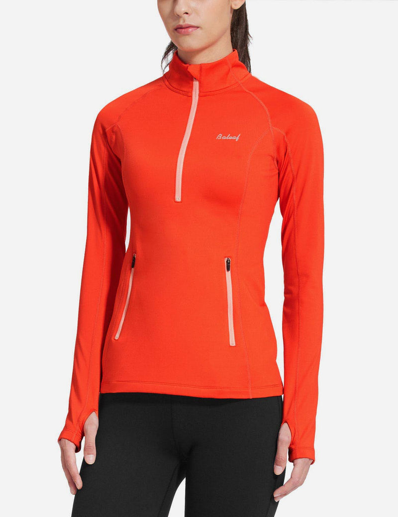 Baleaf Womens Brushed Half-Zip Thumb Hole Collared Compression Shirt Coral front
