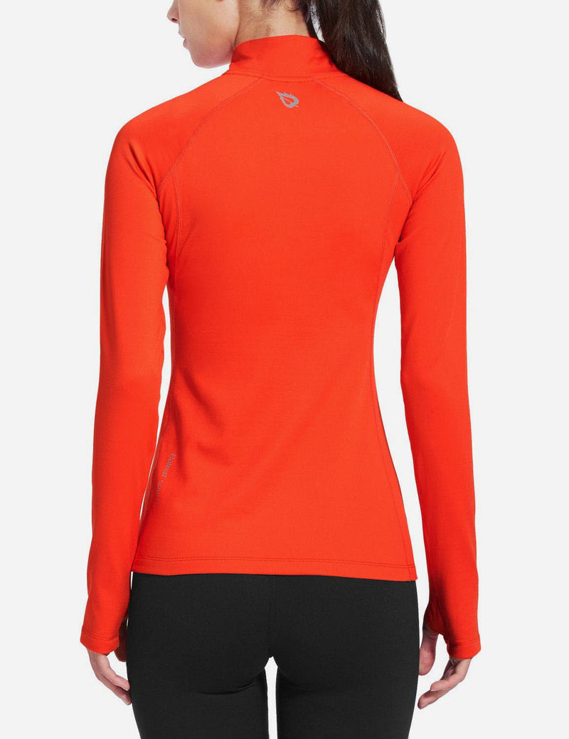 Baleaf Womens Brushed Half-Zip Thumb Hole Collared Compression Shirt Coral back