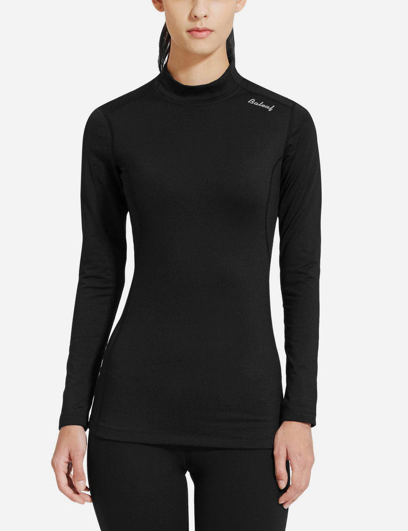 baleaf womens Basic Mock-Neck Compression Long Sleeved Shirt black front