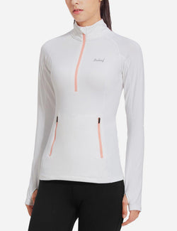 Baleaf Womens Brushed Half-Zip Thumb Hole Collared Compression Shirt White side main