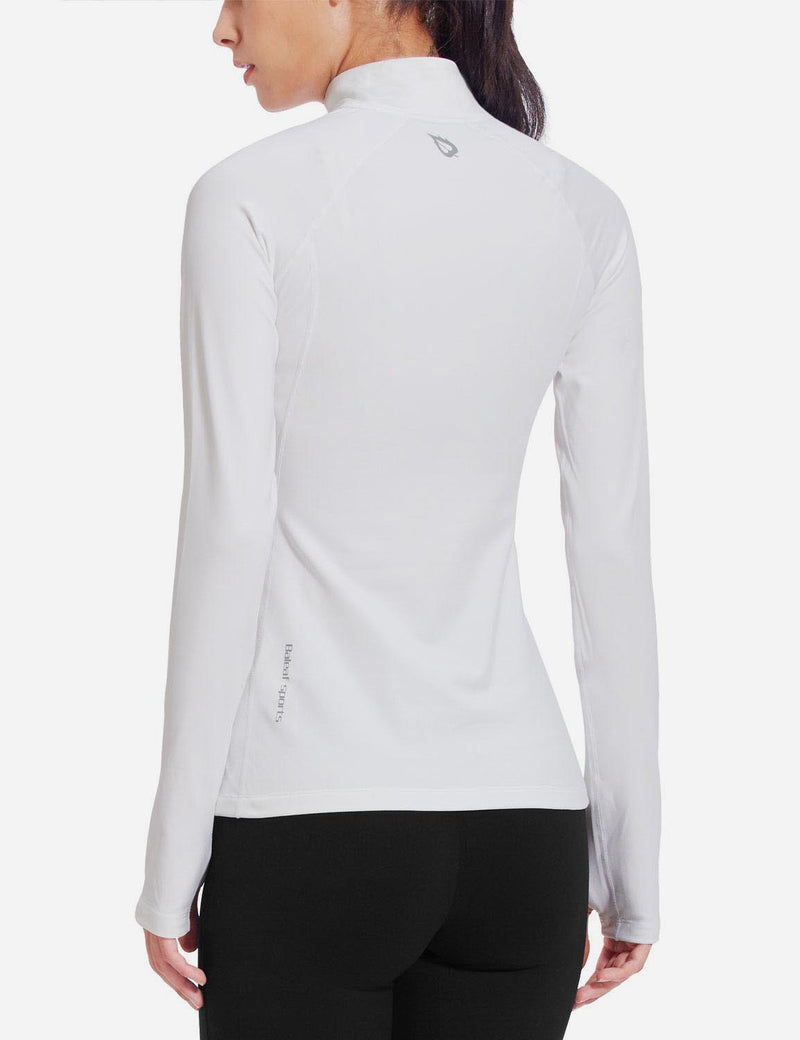Baleaf Womens Half-Zip Thumb Hole Collared Compression Long Sleeve Shirts white back