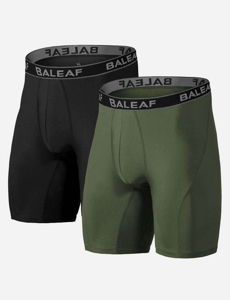 "Baleaf Mens 9"" Mesh Pouch Open-Fly Long Compression Boxer Briefs Black Army Green side"