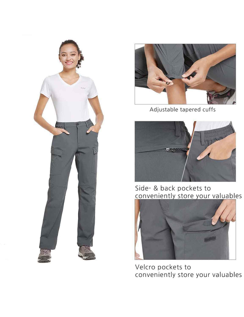 Baleaf Womens UPF50+ Water Resistant Outdoor Convertible Pants Gray details