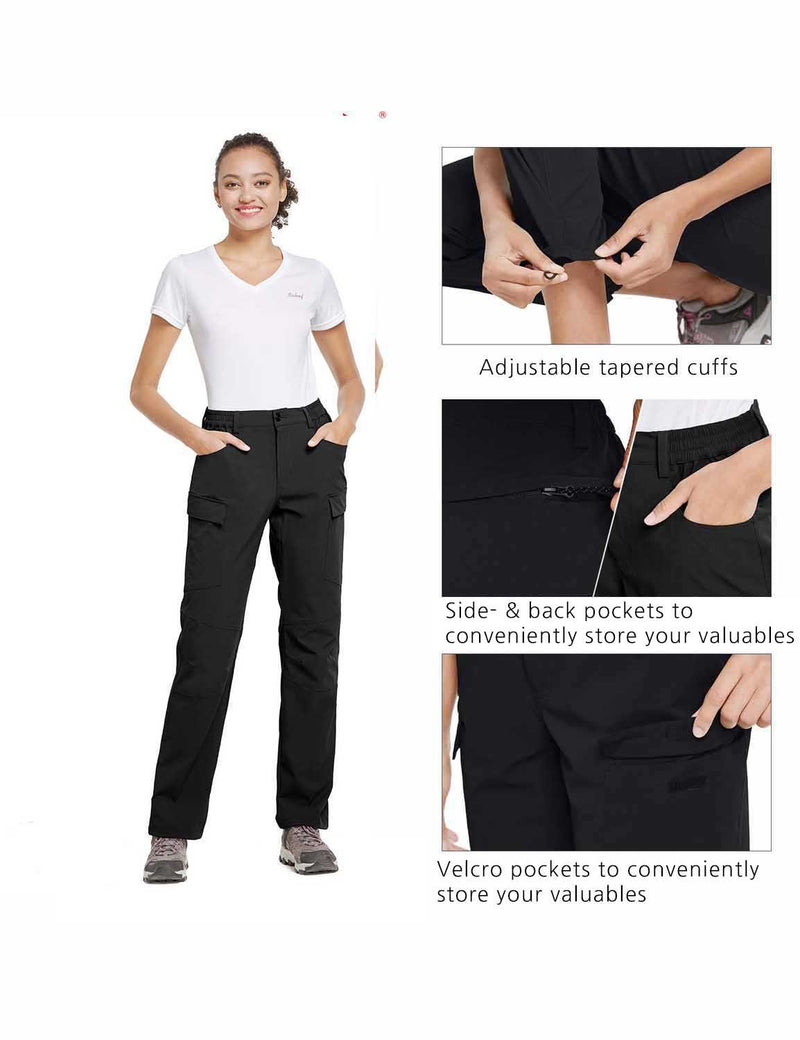 Baleaf Womens UPF50+ Water Resistant Outdoor Convertible Pants Black details