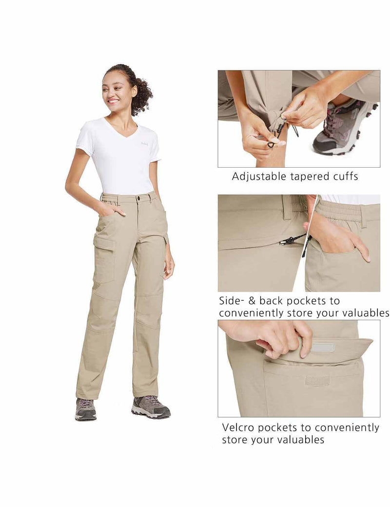 Baleaf Womens UPF50+ Water Resistant Outdoor Convertible Pants Khaki details