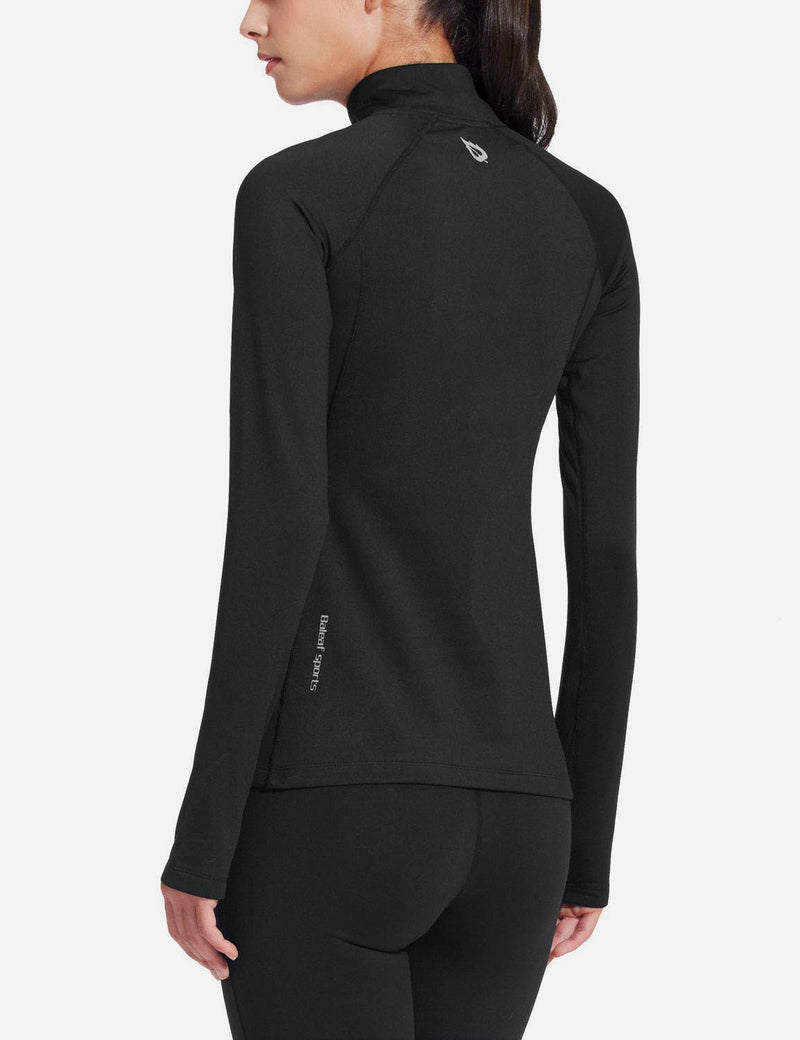 Baleaf Womens Brushed Half-Zip Thumb Hole Collared Compression Shirt Black back
