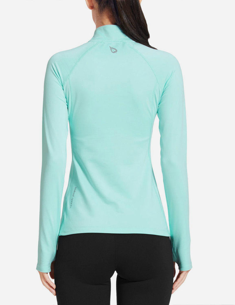 Baleaf Womens Brushed Half-Zip Thumb Hole Collared Compression Shirt Aqua back