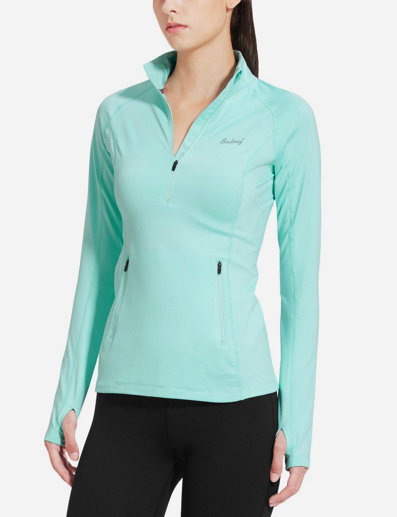 Baleaf Womens Brushed Half-Zip Thumb Hole Collared Compression Shirt Aqua side