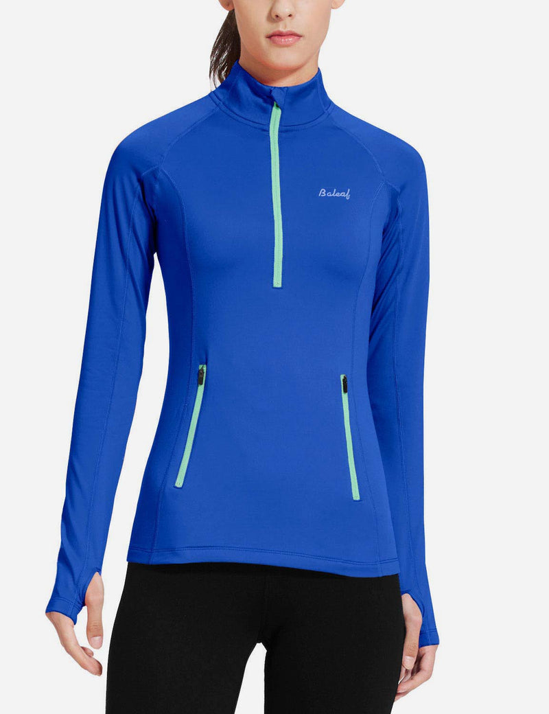 Baleaf Womens Brushed Half-Zip Thumb Hole Collared Compression Shirt Blue front
