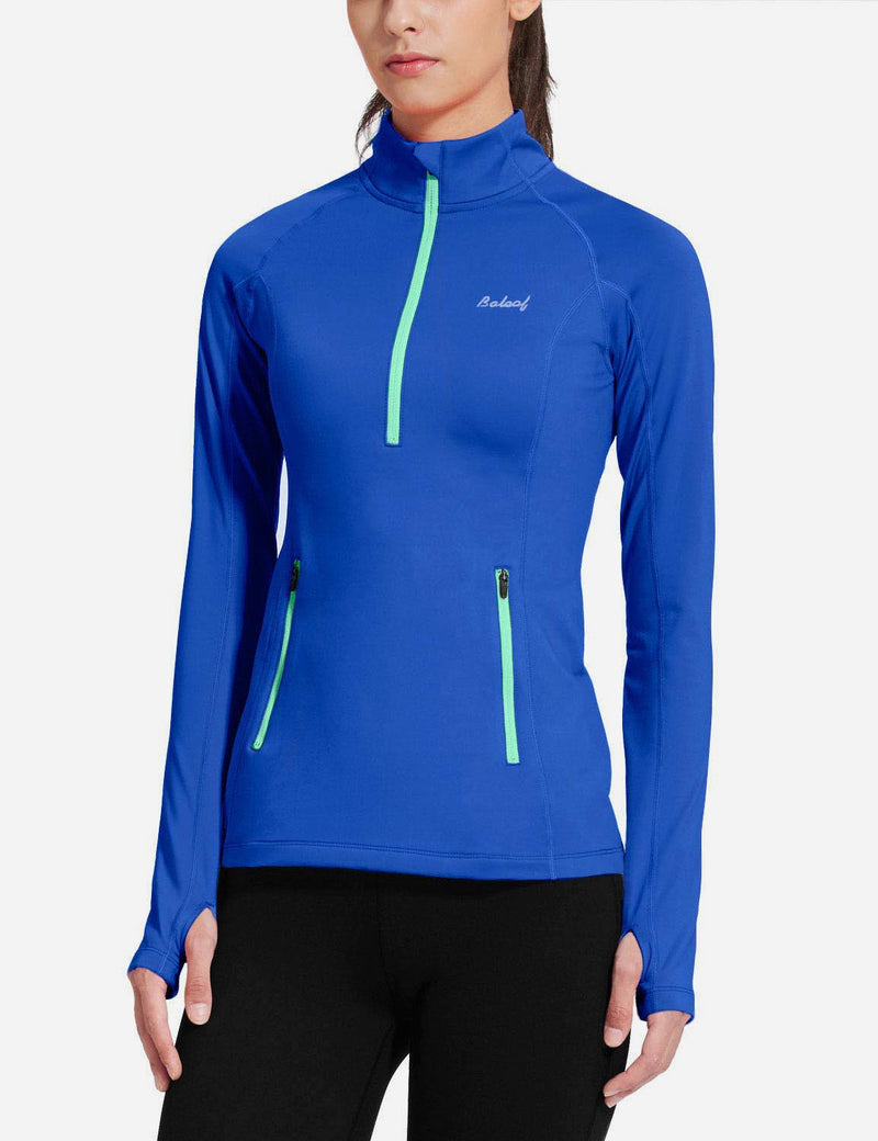 Baleaf Womens Brushed Half-Zip Thumb Hole Collared Compression Shirt Blue side