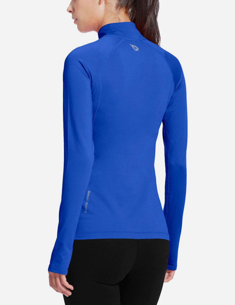 Baleaf Womens Brushed Half-Zip Thumb Hole Collared Compression Shirt Blue back