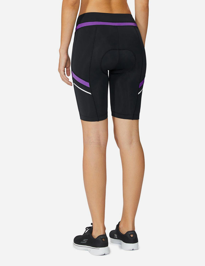 Baleaf Womens UPF 50+ Arc-Shaped Breathable Cycling Shorts black purple back