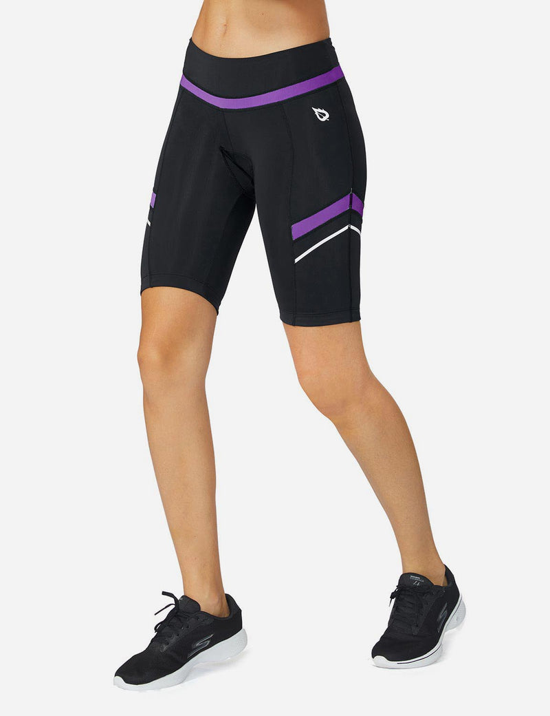 Baleaf Womens UPF 50+ Arc-Shaped Breathable Cycling Shorts black purple front