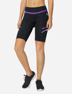 Baleaf Womens UPF 50+ Arc-Shaped Breathable Cycling Shorts black purple side