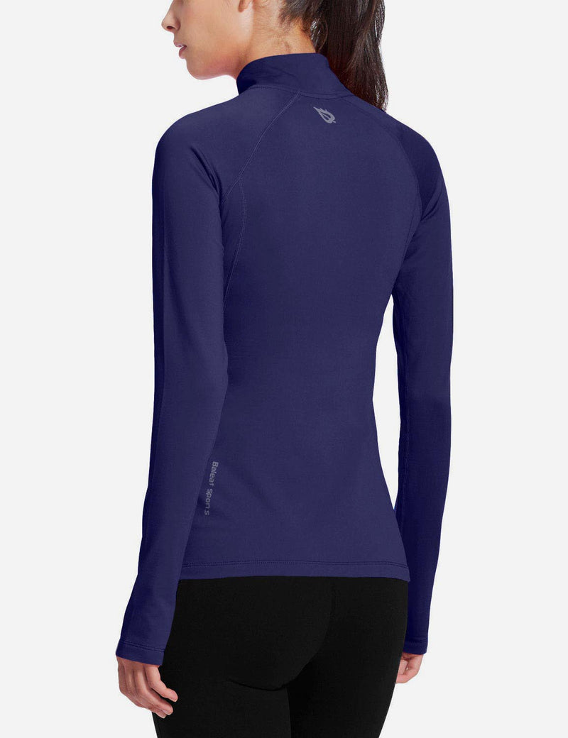 Baleaf Womens Brushed Half-Zip Thumb Hole Collared Compression Shirt Navy back