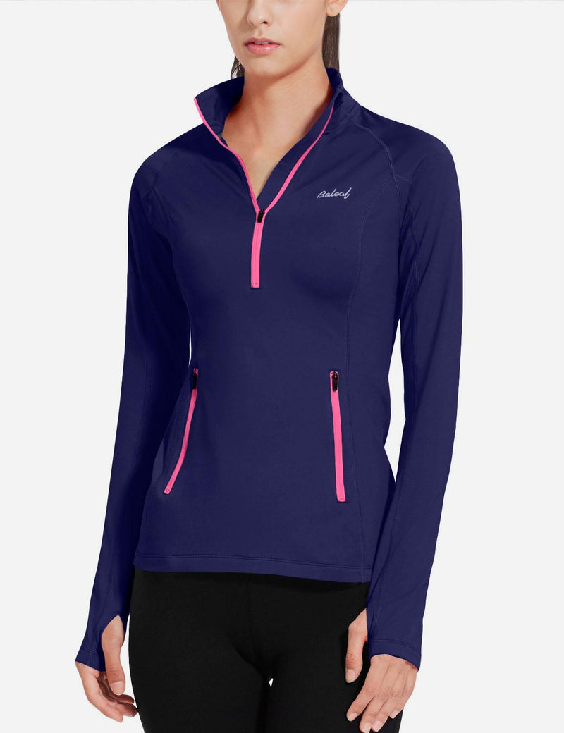 Baleaf Womens Brushed Half-Zip Thumb Hole Collared Compression Shirt Navy front