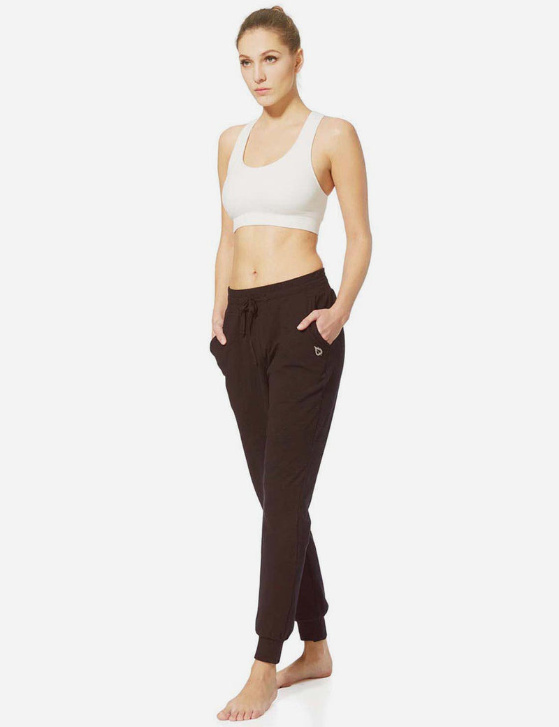 Baleaf Womens Tapered Drawcord Pants coffee full