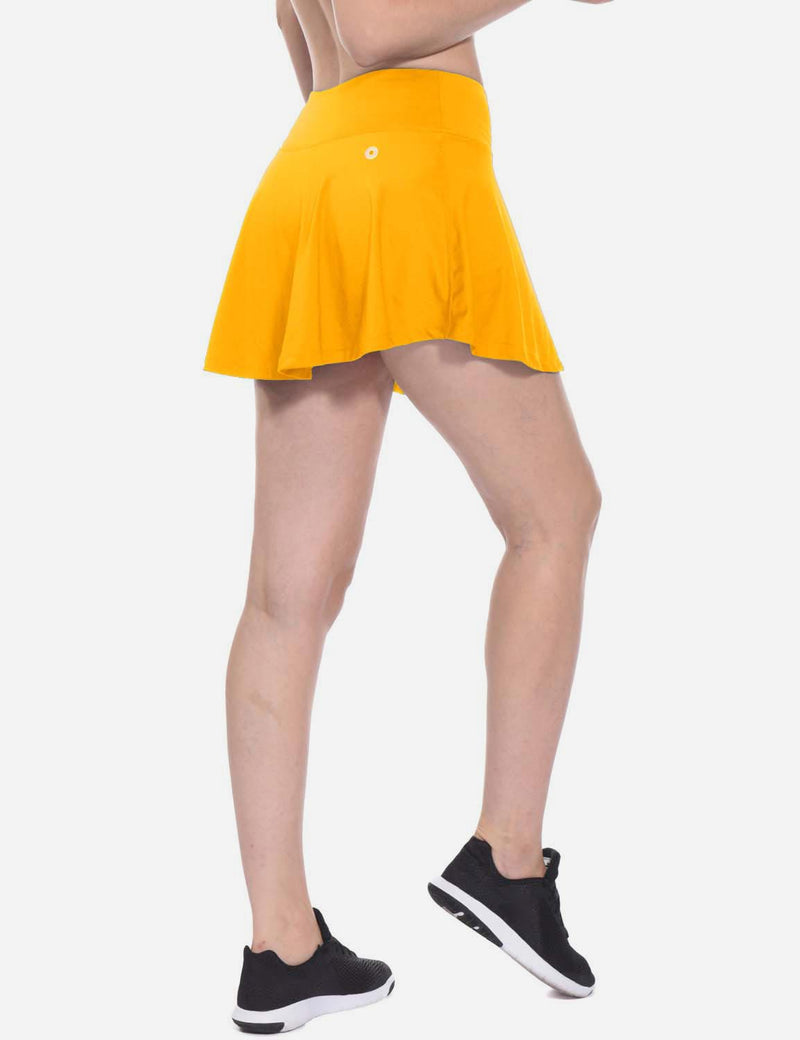 Baleaf Womens Pleated Cable Hole Skort yellow side
