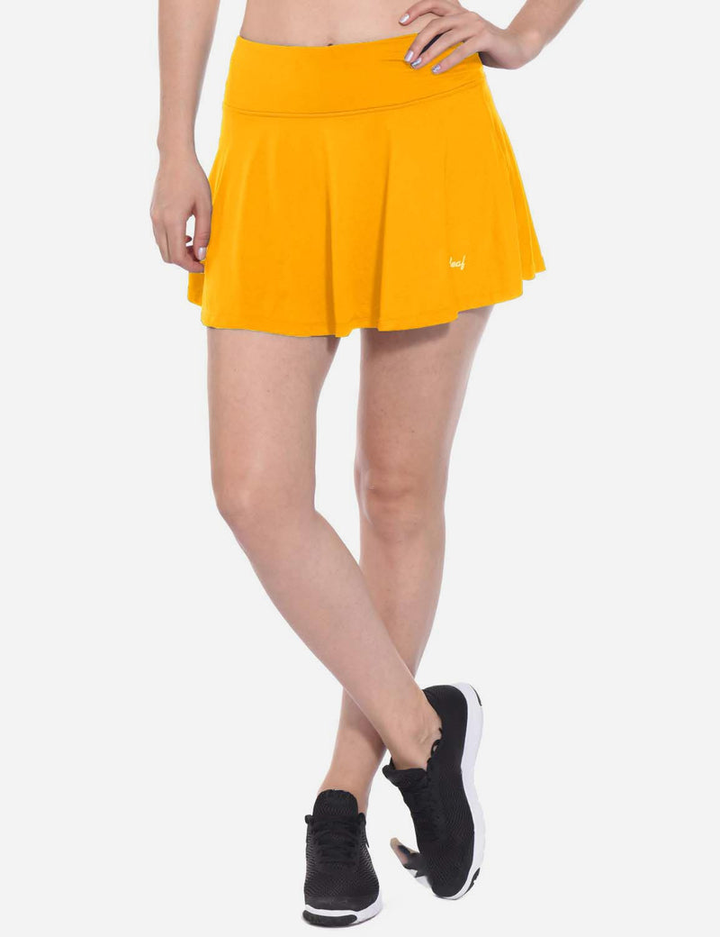 Baleaf Womens Pleated Cable Hole Skort yellow front