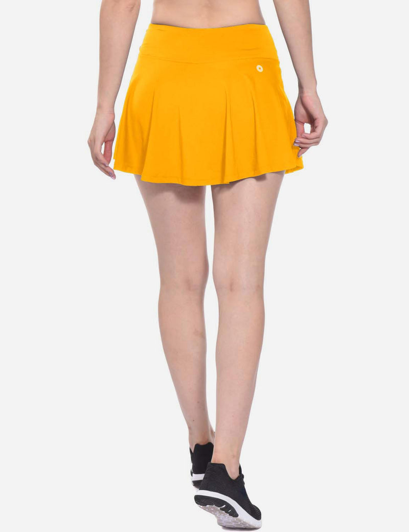 Baleaf Womens Pleated Cable Hole Skort yellow back