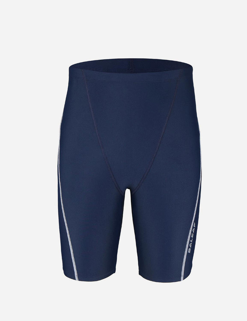 Baleaf Boy's UPF 50+ Sun Protective Quick-Dry Compression Swim Shorts navy white front