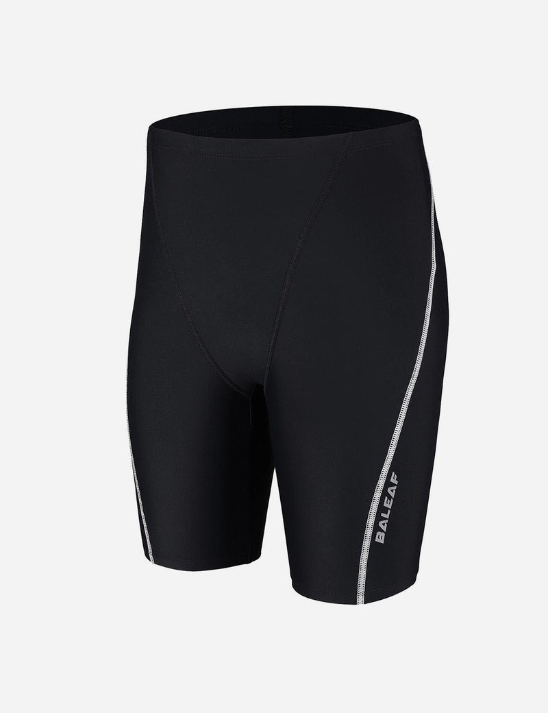 Baleaf Boy's UPF 50+ Sun Protective Quick-Dry Compression Swim Shorts black white side