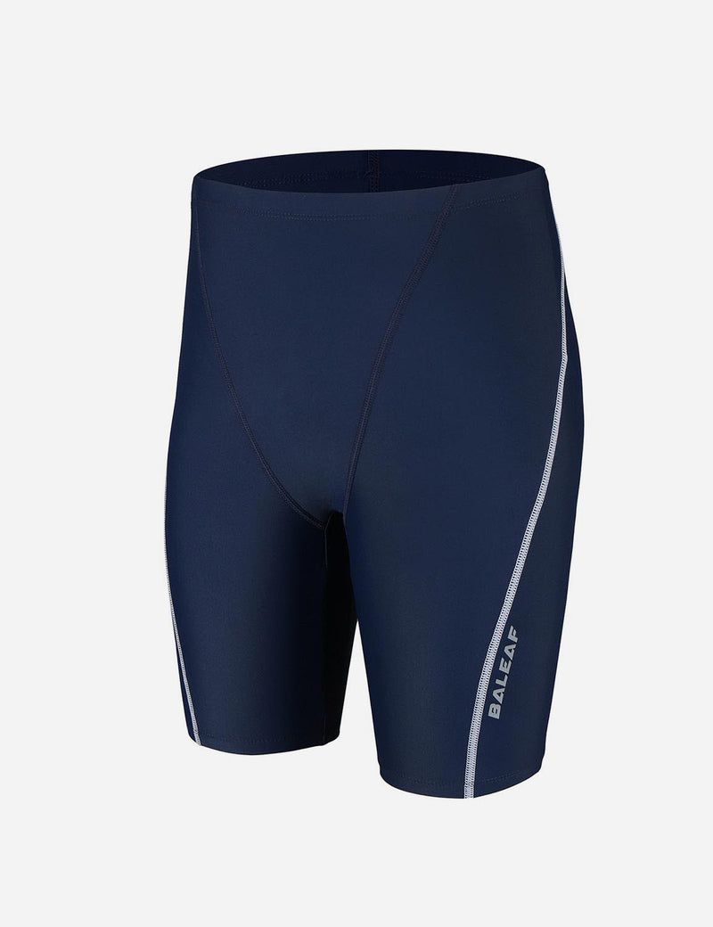 Baleaf Boy's UPF 50+ Sun Protective Quick-Dry Compression Swim Shorts navy white side