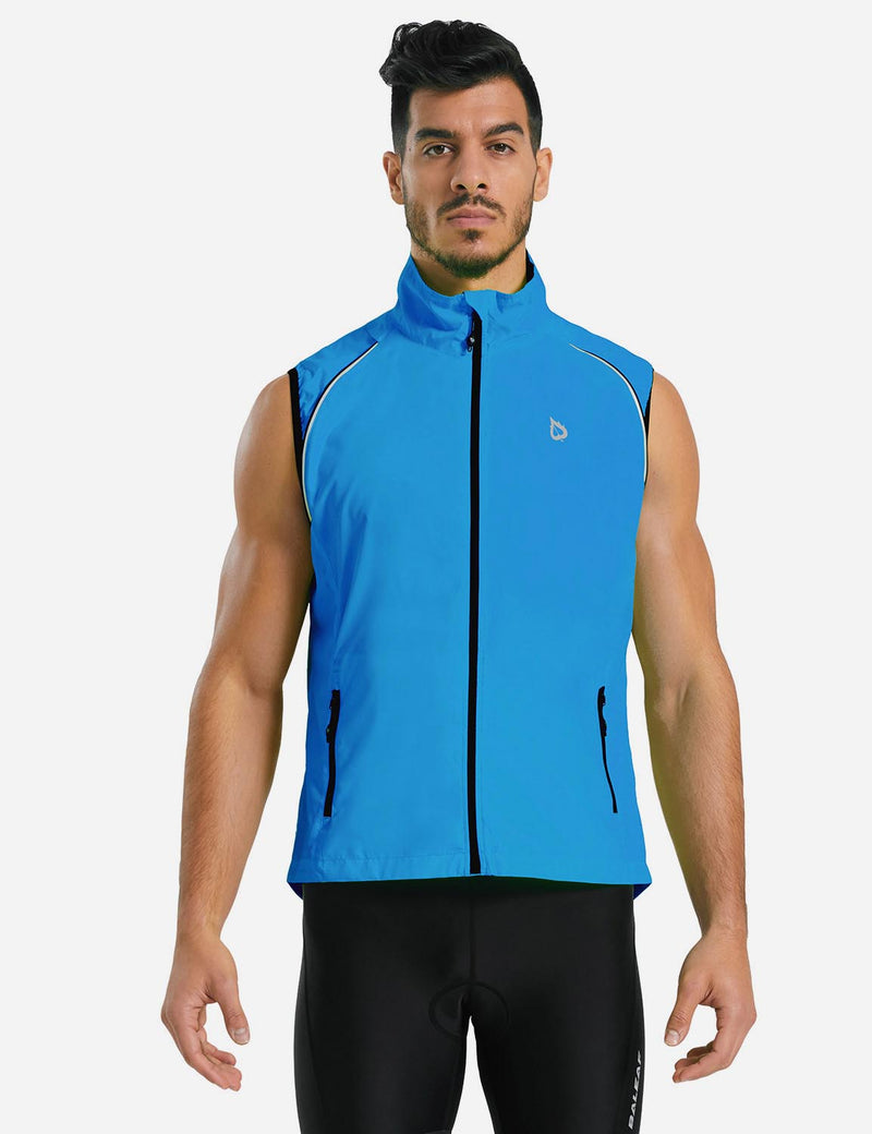 Baleaf Men Fluorescent Detachable Sleeves Windbreaker Track Jacket Blue Back