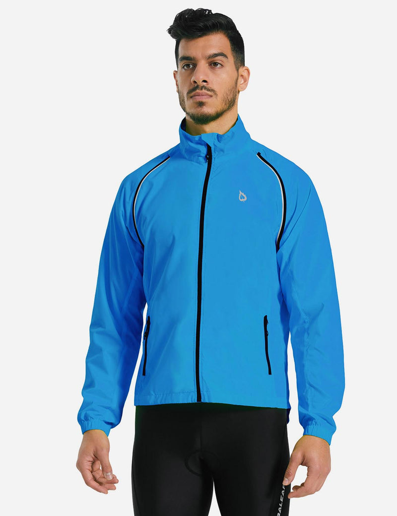 Baleaf Men Fluorescent Detachable Sleeves Windbreaker Track Jacket Blue Details