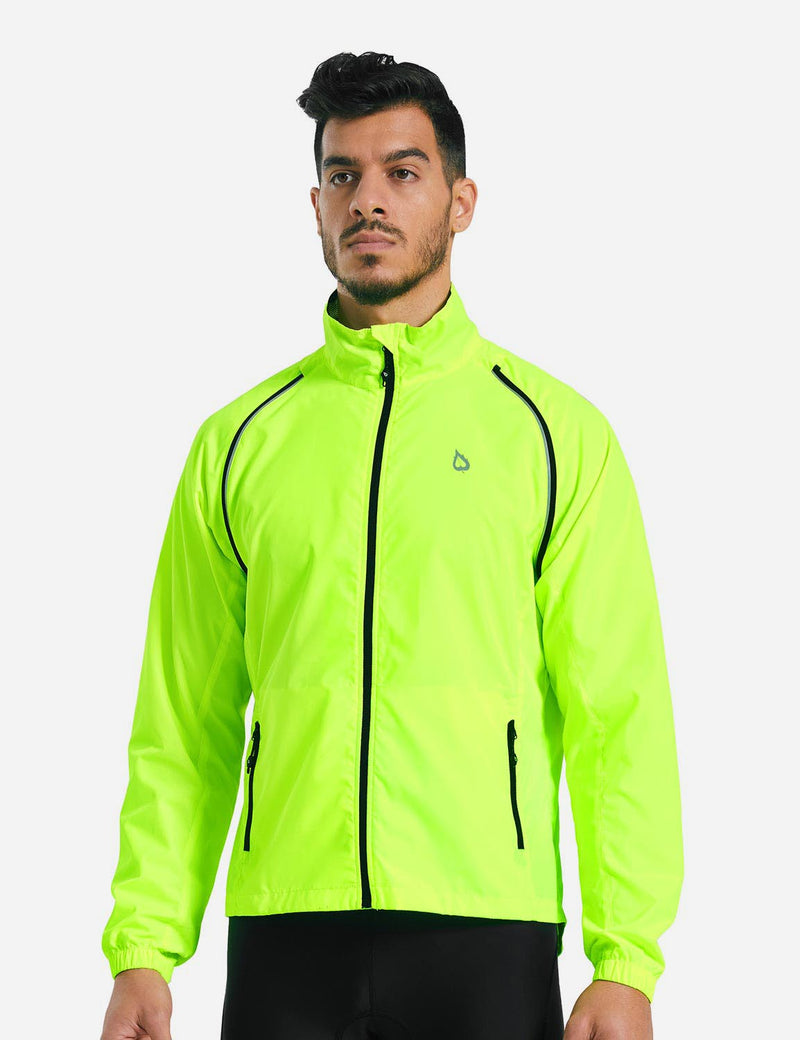 Baleaf Men Detachable Arm Sleeved Fluorescent Yellow Track Jacket neon green back
