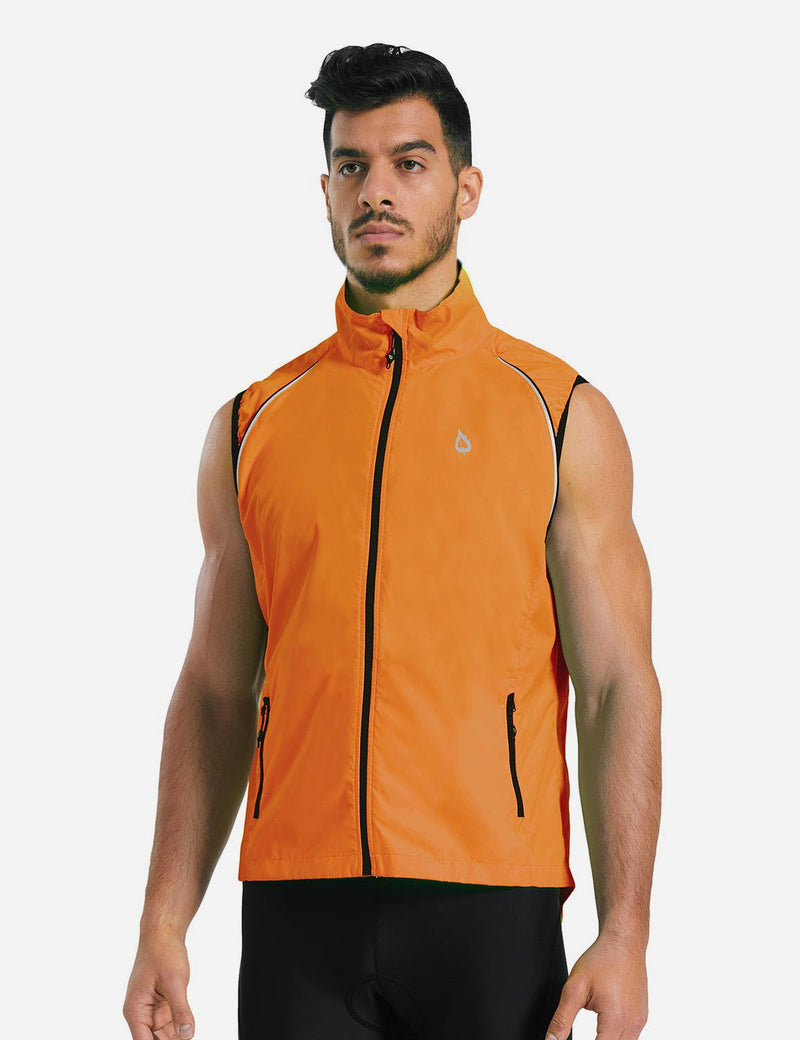 Baleaf Mens Detachable Sleeves Fluorescent Yellow Track Jacket Orange back