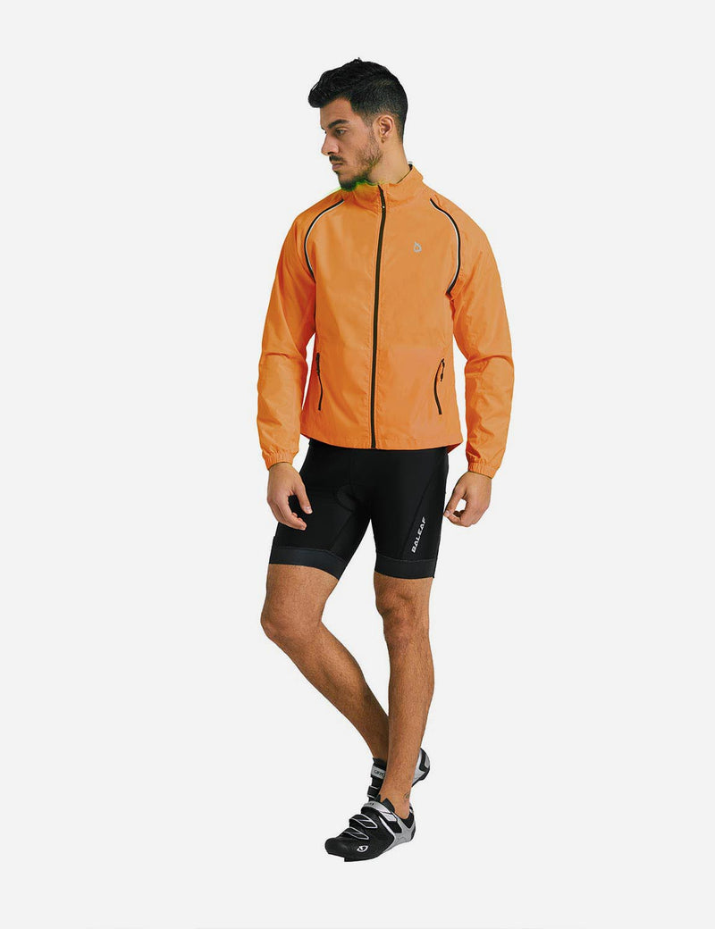 Baleaf Mens Detachable Sleeves Fluorescent Yellow Track Jacket Orange full