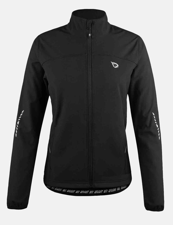 Baleaf Womens Wind- & Waterproof Thermal Long Sleeved Cycling Jacket Black Front