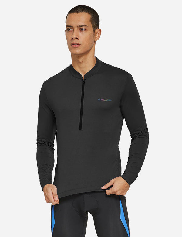 Baleaf Mens UPF 50+ Half Zip Long Sleeved Cycling Top with Back Pouch Storage Black front