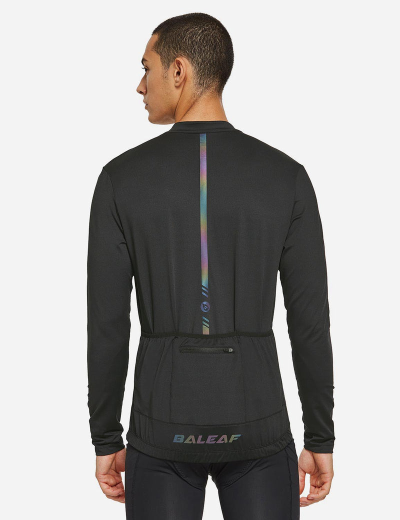 Baleaf Mens UPF 50+ Half Zip Long Sleeved Cycling Top with Back Pouch Storage Black back