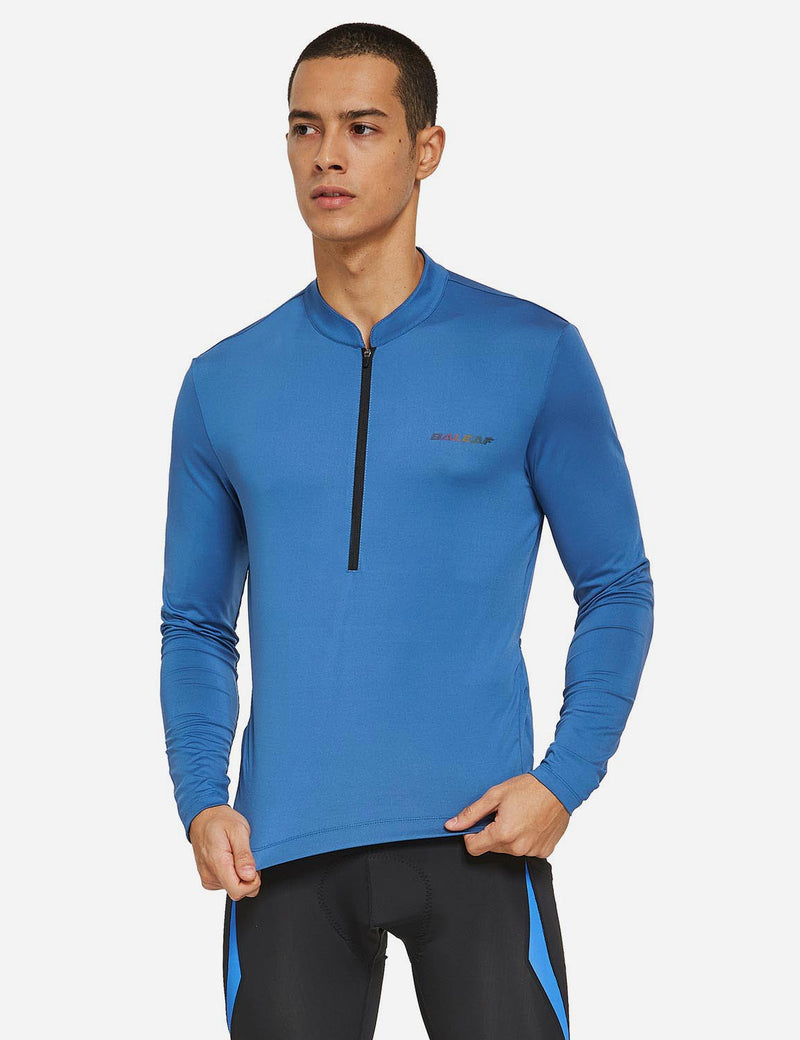 Baleaf Mens UPF 50+ Half Zip Long Sleeved Cycling Top with Back Pouch Storage Blue front
