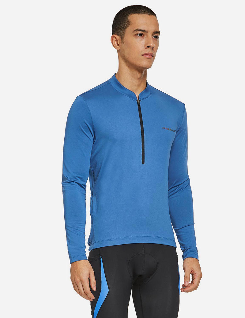 Baleaf Mens UPF 50+ Half Zip Long Sleeved Cycling Top with Back Pouch Storage Blue side