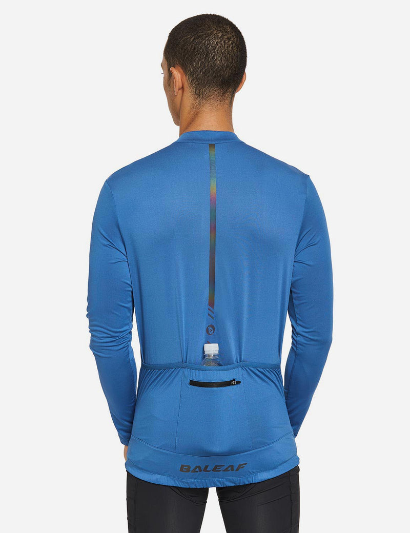 Baleaf Mens UPF 50+ Half Zip Long Sleeved Cycling Top with Back Pouch Storage Blue back