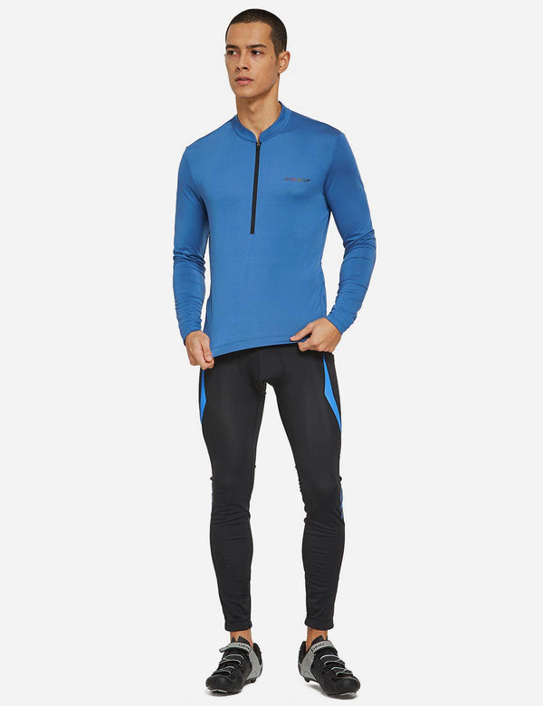 Baleaf Mens UPF 50+ Half Zip Long Sleeved Cycling Top with Back Pouch Storage Blue full
