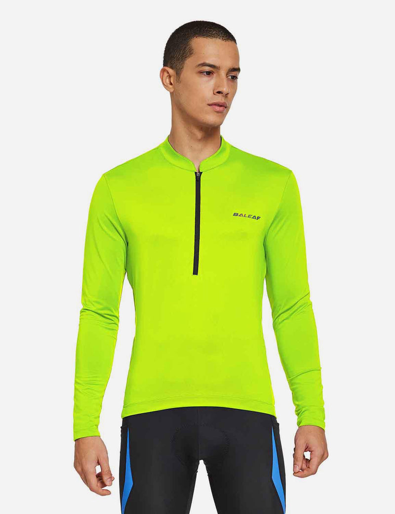 Baleaf Mens UPF 50+ Half Zip Long Sleeved Cycling Top with Back Pouch Storage Fluorescent Yellow Front