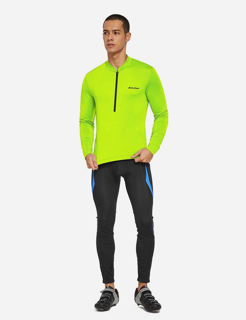 Baleaf Mens UPF 50+ Half Zip Long Sleeved Cycling Top with Back Pouch Storage Fluorescent Yellow full