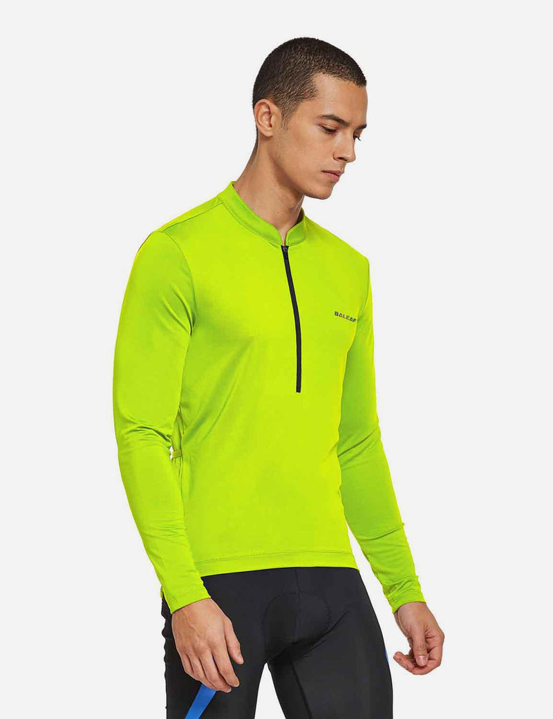 Baleaf Mens UPF 50+ Half Zip Long Sleeved Cycling Top with Back Pouch Storage Fluorescent Yellow side