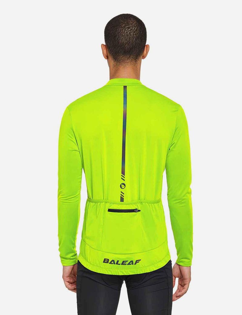 Baleaf Mens UPF 50+ Half Zip Long Sleeved Cycling Top with Back Pouch Storage Fluorescent Yellow back