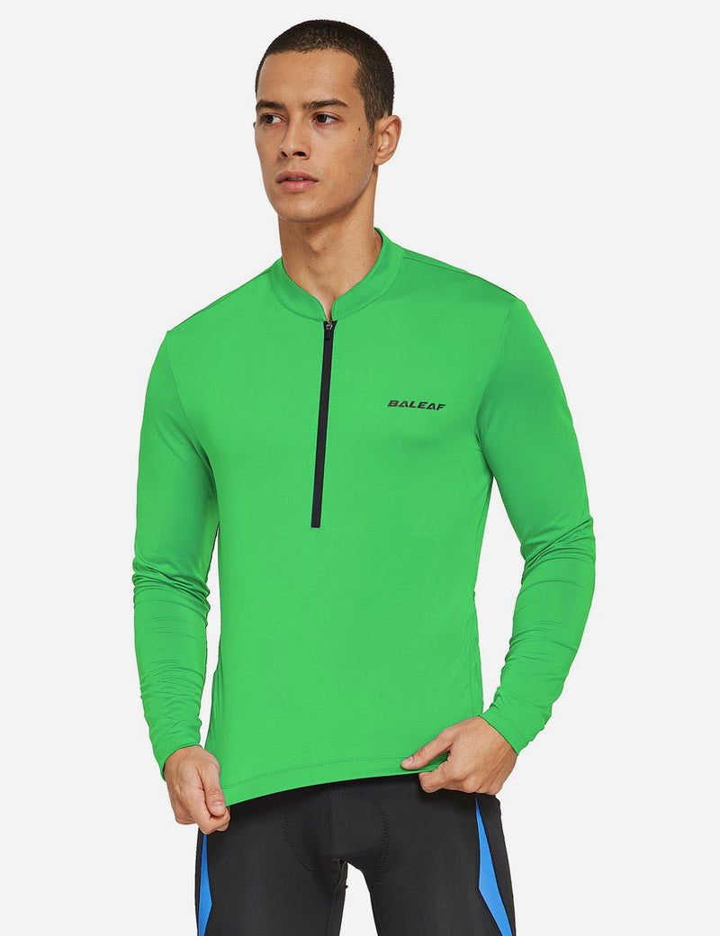 Baleaf Mens UPF 50+ Half Zip Long Sleeved Cycling Top with Back Pouch Storage green front