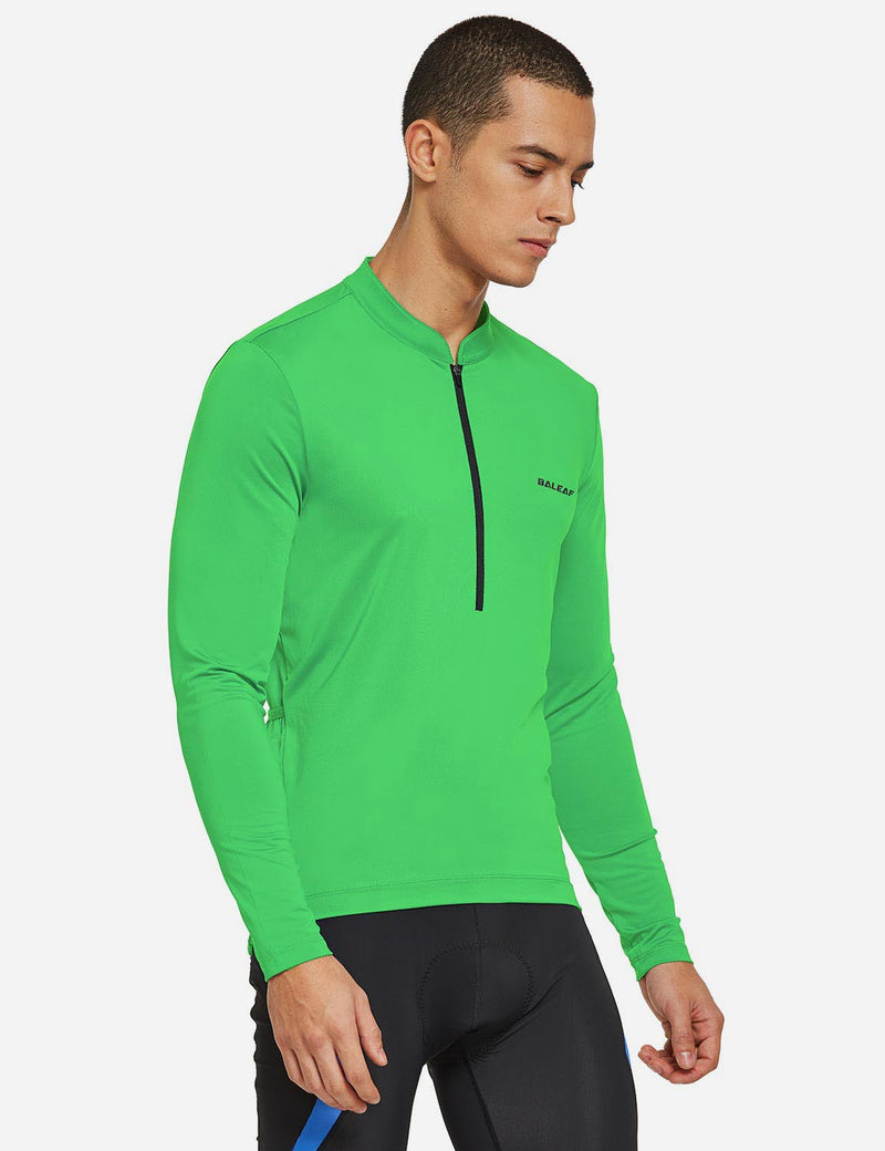 Baleaf Mens UPF 50+ Half Zip Long Sleeved Cycling Top with Back Pouch Storage green side