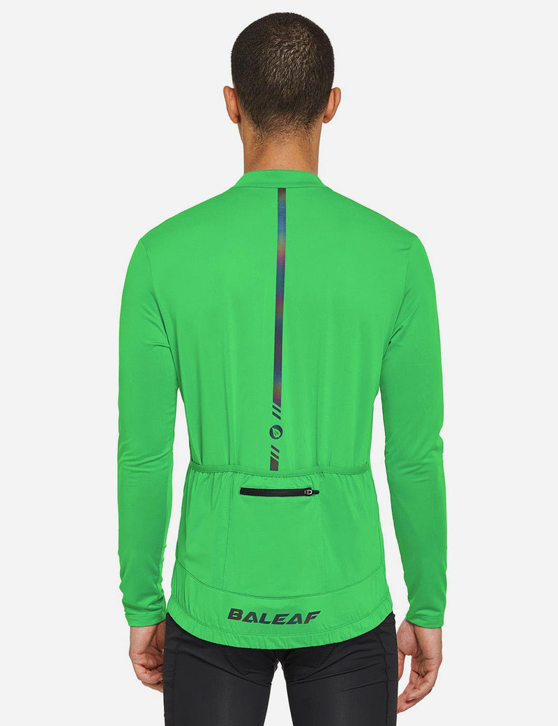 Baleaf Mens UPF 50+ Half Zip Long Sleeved Cycling Top with Back Pouch Storage green back