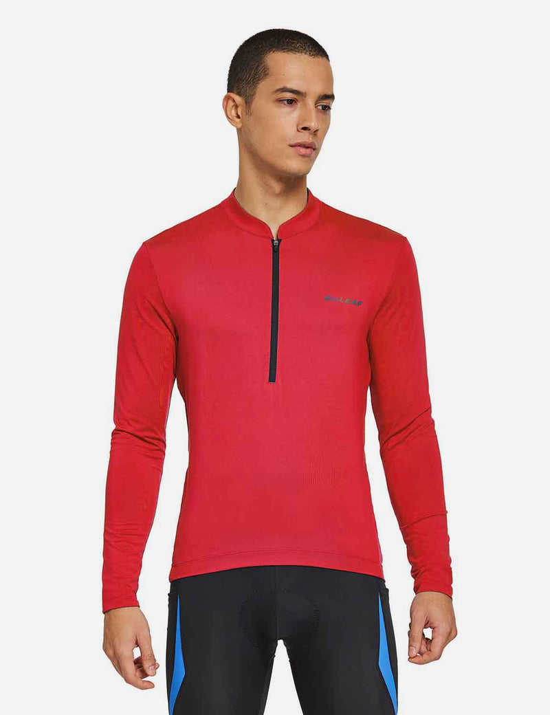 Baleaf Mens UPF 50+ Half Zip Long Sleeved Cycling Top with Back Pouch Storage red front