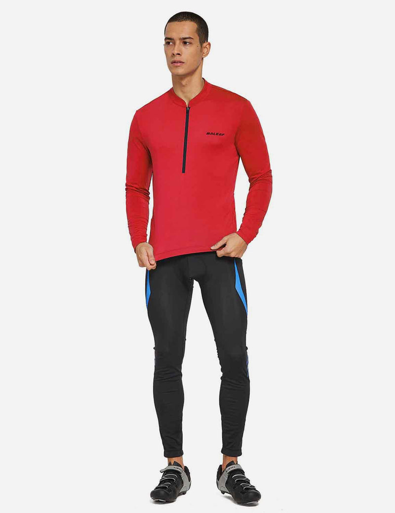 Baleaf Mens UPF 50+ Half Zip Long Sleeved Cycling Top with Back Pouch Storage red full